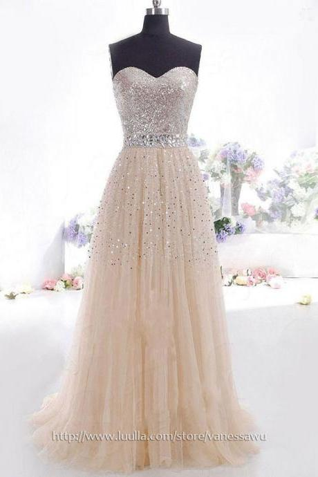 Fashion Champage Long Prom Dresses For Cheap,Princess Sweetheart Evening Dresses,Tulle Sequined Formal Dresses with Sequins,#02016059
