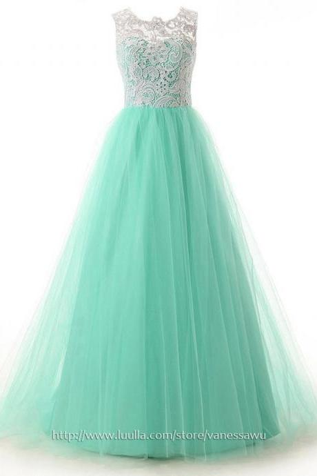 Long Prom Dresses,A-line Scoop Neck Lace Formal Dresses,Sweep Train Tulle Evening Dresses with Ruffle Buttons,#020101174