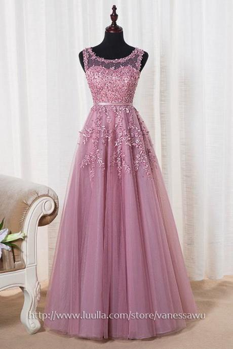 Cheap Prom Dresses,A-line Scoop Neck Long Formal Dresses,Tulle Evening Dresses with Appliques Lace Sashes,#020102804