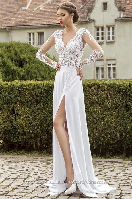 Long Sleeve Prom Dresses,A-line V-neck Long Formal Dresses,Sweep Train Chiffon Evening Dresses with Split Front Appliques Lace,#020102865