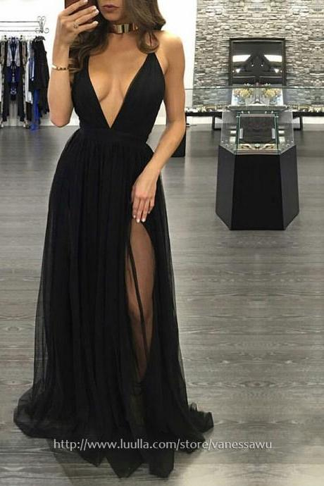 Inexpensive Black Long Prom Dresses,A-line V-neck Evening Dresses,Tulle Formal Party Dresses with Split Front,#020103576