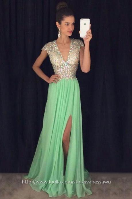 Long Prom Dresses,A-line V-neck Formal Dresses,Sweep Train Chiffon Tulle Evening Dresses with Split Front,#020102202