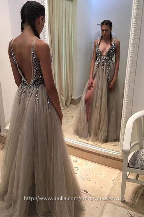 Sparkly Long Prom Dresses,Princess V-neck Formal Evening Dresses,Tulle Pageant Party Dresses with Beading Split Front,#020103505