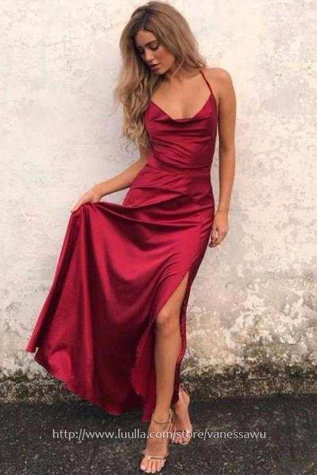 Popular Burgundy Prom Dresses,A-line Cowl Neck Ankle-length Evening Dresses,Silk-like Satin Formal Party Dresses with Split Front,#020105283