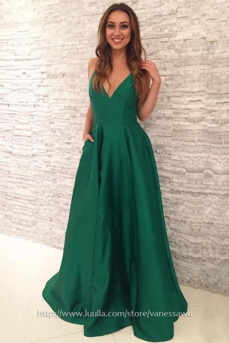 Long Prom Dresses,A-line V-neck Formal Evening Dresses 2018,New Style Sweep Train Satin Pageant Dresses,#020105284