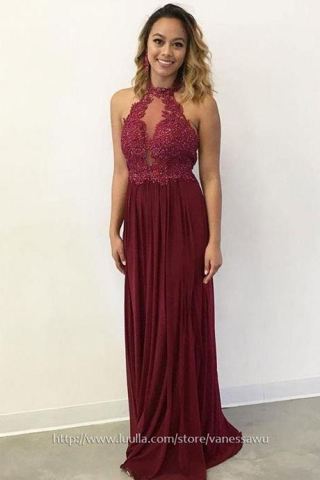 Long Prom Dresses,Sheath/Column High Neck Formal Dresses,Chiffon Evening Dresses with Appliques Lace Sequins,#020105001