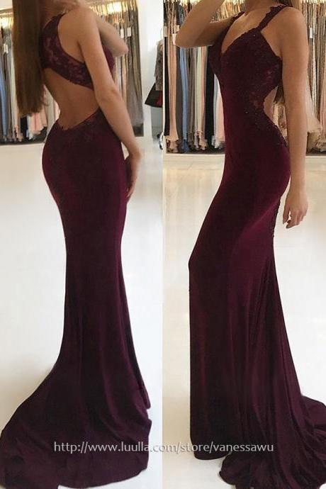 Long Prom Dresses,Trumpet/Mermaid V-neck Formal Dresses,Sweep Train Jersey Pageant Dresses with Appliques Lace,#020105264