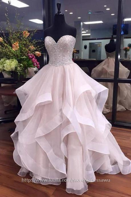 Trendy Prom Ball Gowns For Cheap,Ball Gown Sweetheart Long Evening Dresses,Organza Formal Dresses with Beading,#020103055