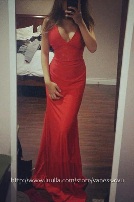 Mermaid Prom Dresses,Red V-neck Long Formal Dresses,Sexy Jersey Evening Dresses with Ruffle,#020104469