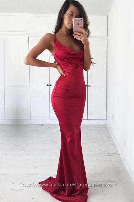 Cheap Prom Dresses,Sheath/Column Cowl Neck Long Formal Dresses,Red Sweep Train Silk-like Satin Pageant Dresses,#020105542