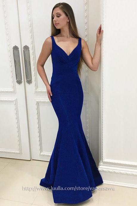 Cheap Prom Dresses,Trumpet/Mermaid V-neck Long Formal Evening Dresses,Blue Velvet Pageant Dresses with Ruffle,#020106073