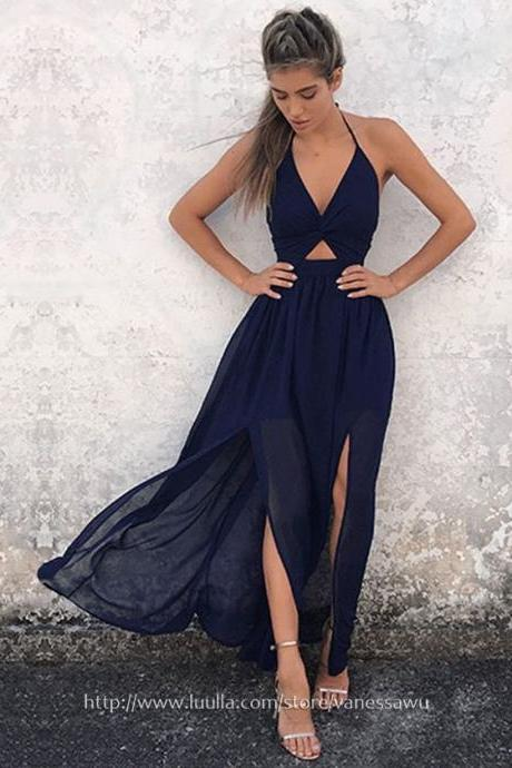 Long Prom Dresses,A-line Halter Formal Evening Dresses,Ankle-length Chiffon Pageant Dresses with Split Front,#020106104