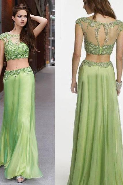 Cap Sleeve Embellished Chiffon Two Piece Prom Dress, Clover Green Prom Dress with Keyhole Back, See-Through Prom Dress, #02017254