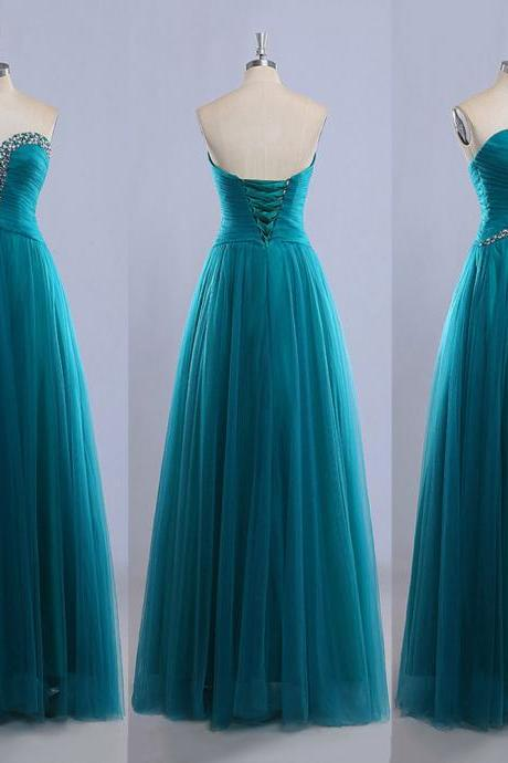 Sweetheart Floor-length Ball Gowns, Gorgeous Tulle Prom Dress with Lace-up Back, Exclusive Beaded Prom Dress, #020102225