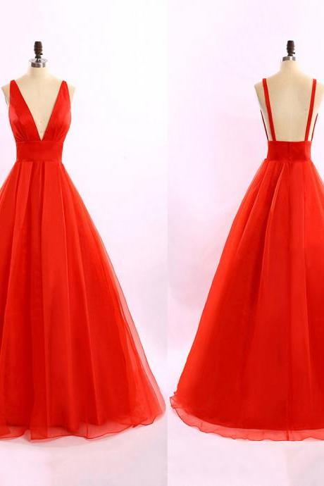 Hot Red Long Prom Dresses, Sexy Plunge V-neck Ball Gowns, Backless Princess Prom Dresses, Unique Ball Gowns, #020102184
