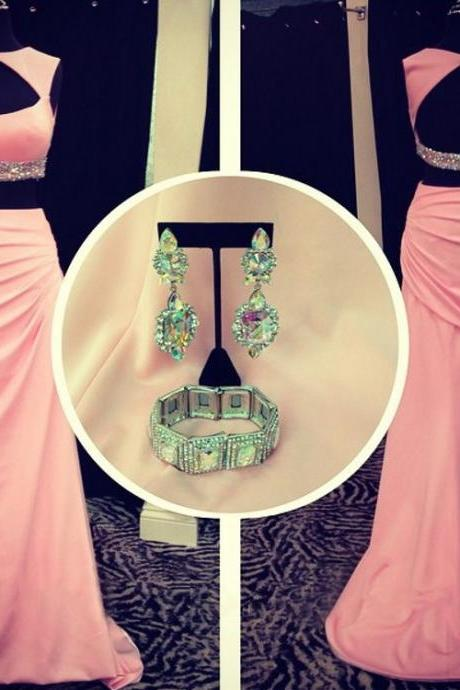 Pink Open Back Prom Dresses, Two Piece Prom Dress with Beaded Belt, Sheath Scoop Neck Crop Top Prom Dress, #020102156