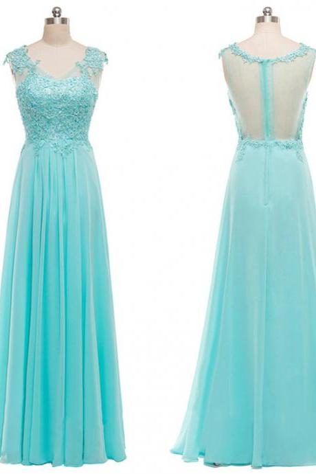 Cap Sleeves Lace Appliqué A-line Chiffon Long Prom Dress with Sheer Back