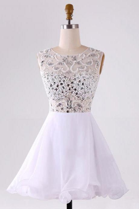 Cute Illusion Beaded Prom Dresses, White Chiffon Tulle Homecoming Dresses, Short See-through Prom Dresses with Sparkle Beads, #020102087