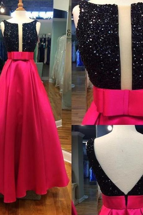 Red V-back Prom Dress with Cut-out, Black A-line Prom Gowns with Beaded Bodice, Discount Prom Dresses, #020102034