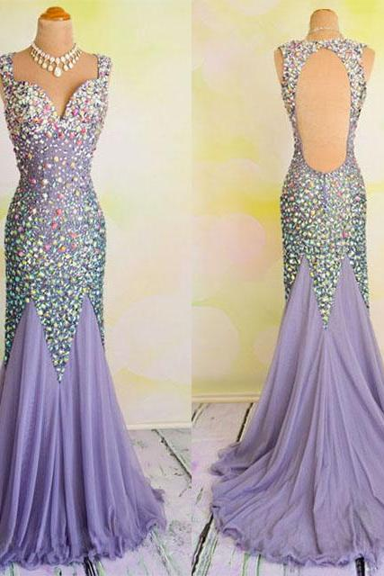 All over Beaded Prom Dresses, Mermaid V-neck Chiffon Bridesmaid Gowns with Sparkle Gemstones Beads, Open Back Long Prom Dresses, #020102031