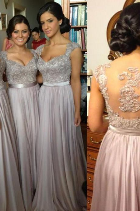 Cap Sleeve Grey Prom Dress, Floor Length Chiffon Prom Dress, Prom Dress with Lace Applique, Bead, Sequin, #02015284