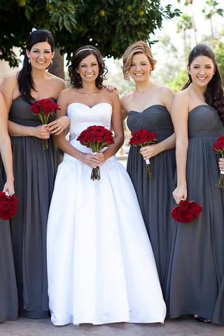 Empire Sweetheart Bridesmaid Dress with a Ribbon, Dark Gray Chiffon Bridesmaid Gowns with Pleats, Long Chiffon Bridesmaid dress, #01012586
