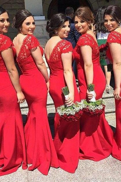 Hot Red Lace Bridesmaid Dresses, Unique V-neck and V-Back Bridesmaid Dresses, Satin Bridesmaid Dress with a Ribbon, #01012744