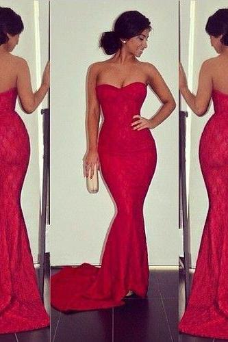 Sleek Sweetheart Lace Prom Dress, Hot Red Prom Dress with Floral Lace, Sexy Mermaid Sleeveless Prom Dress, #02016061