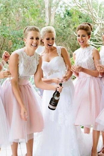 Two-toned Lace Bridesmaid Dress, Scalloped Neck Bridesmaid Dress with a Self-tie Sash, White and Pink Tulle Short Bridesmaid Dress, #01012767