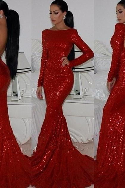 Mermaid Hot Red Prom Dress, Long Sleeve Backless Prom Dress with sparkling Sequin, Glam Long Prom Dress, #02016266