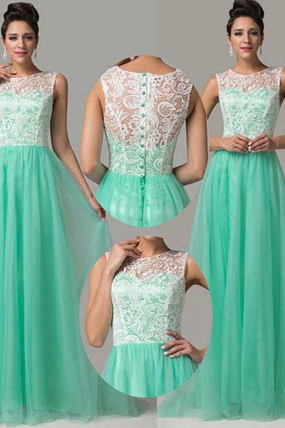 Aqua High Neck Prom Dress with White Lace Bodice, Sleeveless Prom Dresses with Covered Button, Elegant Tulle Prom Dress, #02016812