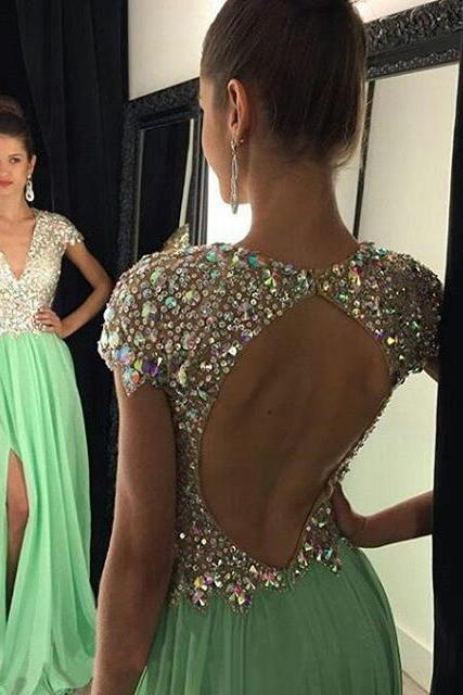 Open Back V-neck Prom Dresses with Side Slit, All over Beaded Prom Dress, Cap Sleeve Chiffon Prom Dresses, #020102202