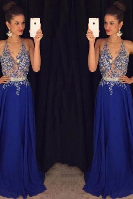 Sexy Beaded Blue Prom Dress with Beaded Belt, Hot Open Back Prom Dresses, Fabulous High Neck Chiffon Prom Dress, #020102188