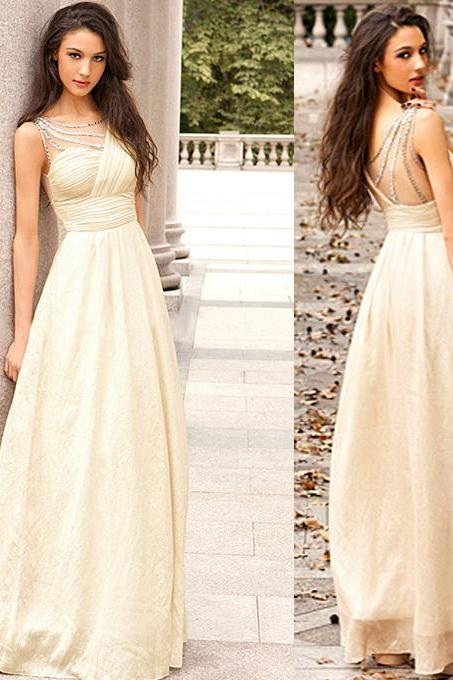 Empire Evening Dress with Ruching Detail, Beaded Prom Dress with Belt, Ivory Chiffon Floor-length Perfect Prom Dress, #020102326