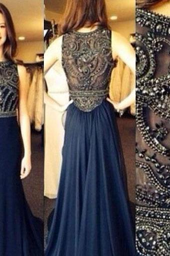 Sleeveless Illusion Neckline Prom Dress, Navy Blue Prom Dress with Gemstone Bead, Long Column Prom Dresses, #02016841