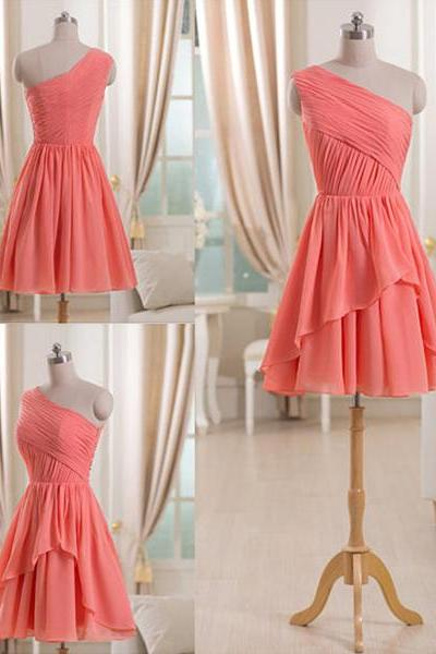 Watermelon Short Bridesmaid Dress with Ruching Detail, One shoulder Chiffon Bridesmaid Dress, Trendy Mini Bridesmaid Dress, #01012509