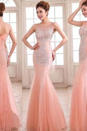 Sleeveless Fit and Flare Prom Dress, Beaded Blush Prom Dress with Tulle Bowtie, Trendy Open Back Prom Dresses, #02016892