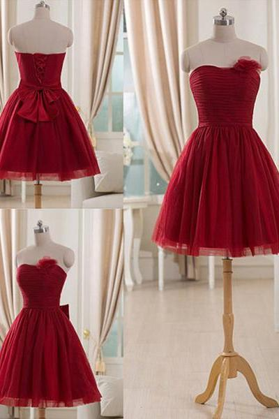 Trendy Burgundy Bridesmaid Dresses with Tulle Flowers, Short Bridesmaid Gowns, Strapless Bridesmaid Dresses, #01012514