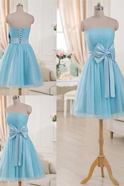 Gorgeous Strapless Short Bridesmaid Dresses, Light Blue Bridesmaid Gown with a Feminine Bow, Mini Bridesmaid Dress with Ruching Detail, #01012516