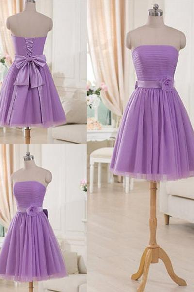 Lilac Bridesmaid Dress with a Ribbon, Graceful Short Bridesmaid Dresses with Ruching Details, Strapless Mini Bridesmaid Gowns, #01012517