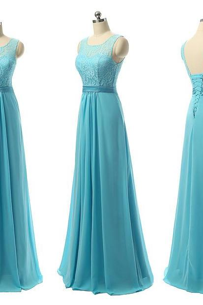 Affordable Illusion Bridesmaid Dresses, A-line Blue Chiffon Bridesmaid Gown with Pleats, Long Lace Gown for Bridesmaids, #01012730