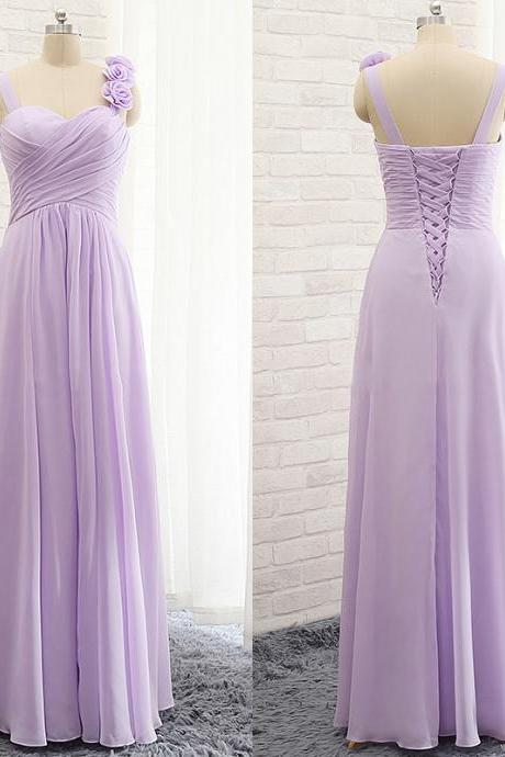 Discount A-line Bridesmaid Dresses with Flowers, Sweetheart Chiffon Bridesmaid Dress with Ruching Detail, Long Bridesmaid Dresses, #01012735