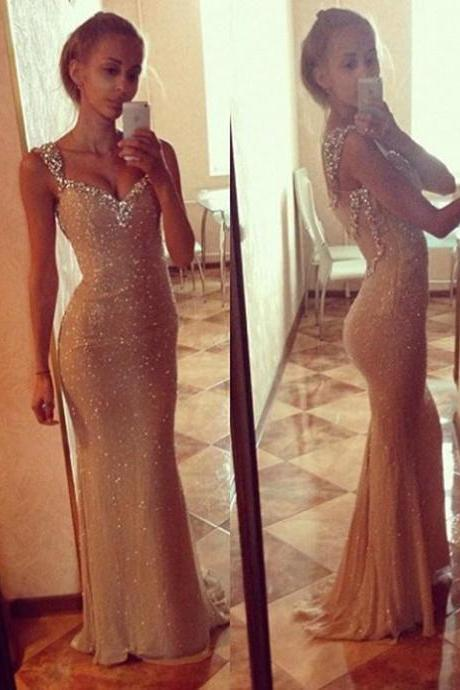 Sparkle Prom Dresses with Sequined Neckline and Straps, Illusion V-neck Prom Dress with Beaded Open Back, Mermaid Prom Dresses, #02016911