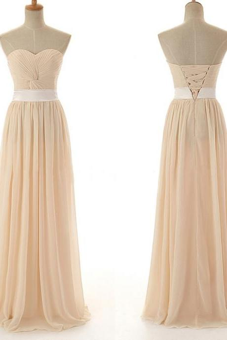 Champagne Coloured Sweetheart Neckline Knotted Ruched A Line Chiffon Bridesmaid Dress with Lace Up Detailing