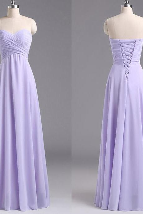 Sweetheart Lavender Bridesmaid Dresses, Chiffon Floor-length Bridesmaid Dress with Ruching Detail, Discount Bridesmaid Dresses, #01012796