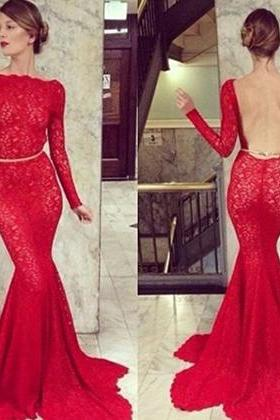 Lace Fit and Flare Halter Dress with Sweep Train, Backless Prom Dresses, Hot Red Lace Prom Dress, #02016939