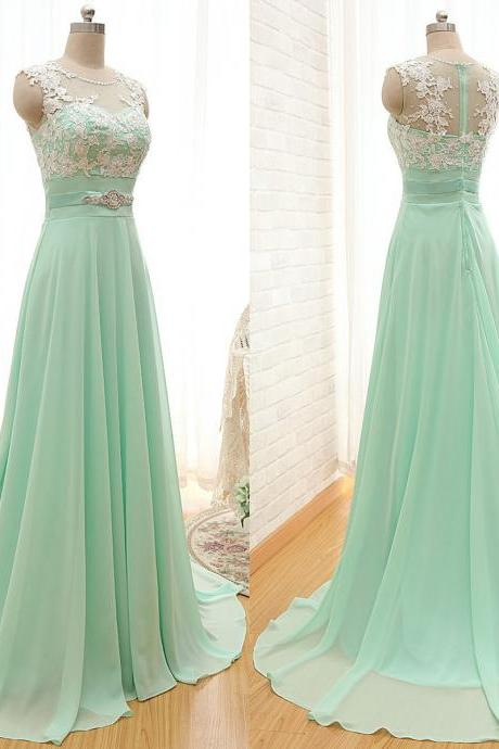 Scoop Neck Bridesmaid Dresses with Lace Appliques, Elegant Chiffon Bridesmaid Dresses, Light Green Bridesmaid Gowns, #01012804