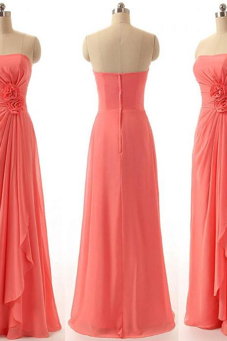 Strapless Bridesmaid Dresses with Handmade Flowers, Watermelon Chiffon Bridesmaid Dresses, New Floor-length Gowns for Bridesmaid, #01012811