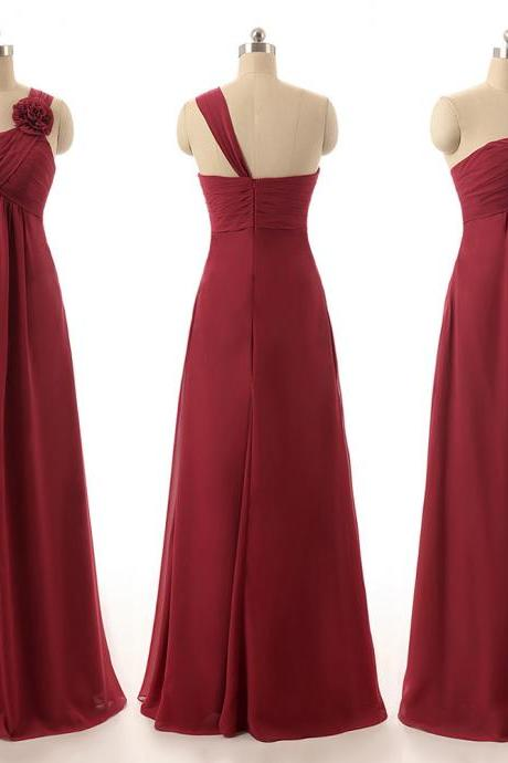 Burgundy Bridesmaid Dresses with Handmade Flowers, Gorgeous Empire Bridesmaid Gowns, One Shoulder Chiffon Bridesmaid Dresses, #01012820