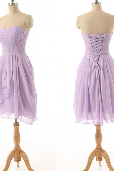 Lavender Chiffon Ruched Sweetheart Short Bridesmaid Dress Featuring Lace-Up Back, Evening Dress